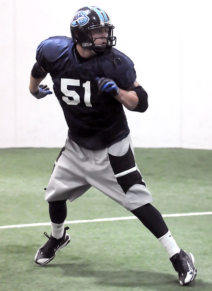 Colorado Ice defensive lineman Dominic Applehans backpedals while participating in a drill during practice Thursday, March 3, 2011 at Arena Sports in Windsor.