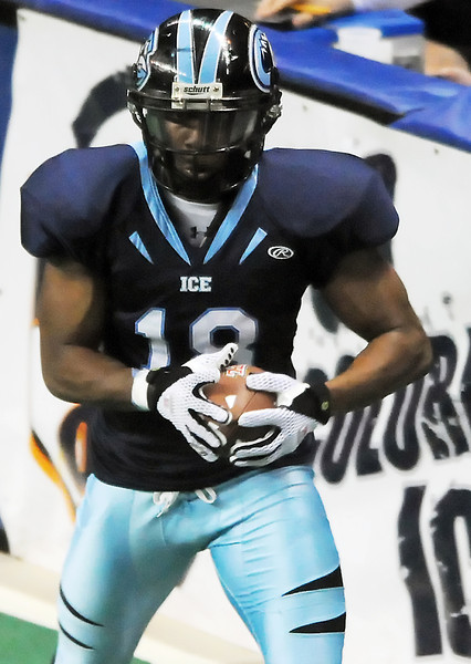 Colorado Ice wide receiver Kenneth Witter during a game against the Wyoming Cavalry on Saturday, March 5, 2011 at the Budweiser Events Center.