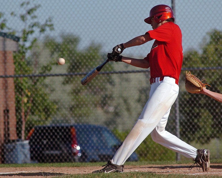 Davidson-Gebhardt Chevrolet's Erick Andrews hits a single in the bottom of the second inning of a game against Silver Creek on Wednesday, June 30, 2010 at Swift Field. Loveland High School's top summer team won in five innings, 15-4.