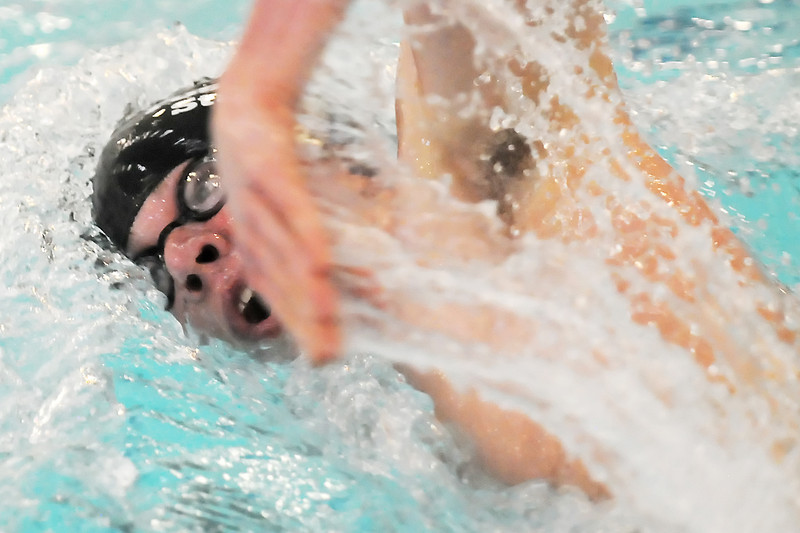 Fossil Ridge High School senior Josh Ginsborg swims in the 500-yard freestyle final during the Dick Rush Swim and Dive Invitational on Saturday at the Edora Pool Ice Center in Fort Collins.
