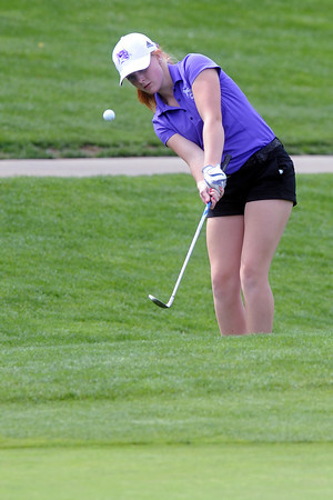 Mountain View High School's MarLee Johnson hits a chip shot during the R2-J Tournament on Wednesday, April 25, 2012 at Mariana Buttes Golf Course.