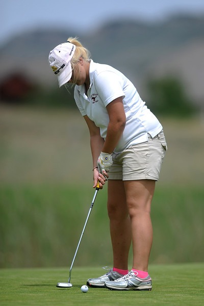 Fort Morgan High School sophomore Shelby Bledsoe hits a putt on No. 2 during the R2-J Tournament on Wednesday, April 25, 2012 at Mariana Butte Golf Course in Loveland, Colo.