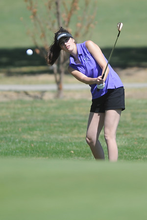Mountain View High School's Madison Polansky hits a chip shot on hole No. 5 during a Northern Conference meet Wednesday, April 4, 2012 at The Olde Course.