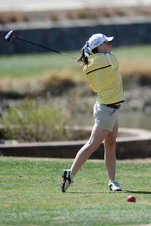 Thompson Valley High School's Lauren Mickelson watches her drive off the No. 6 tee box during a Northern Conference meet Wednesday, April 4, 2012 at The Olde Course.