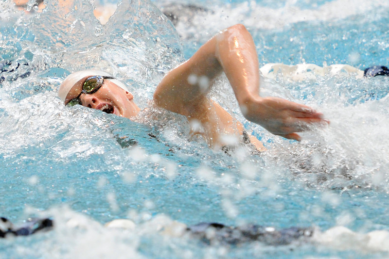 Thompson Valley High School freshman Eryn Eddy swims the freestyle portion of the 200-yard medley relay during the finals of the Class 4A State Championships on Saturday, Feb. 11, 2012 at Veterans Memorial Aquatics Center in Thornton.