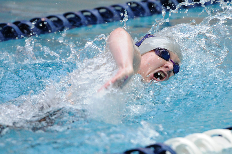 Mountain View High School senior Brittany Whitham swims in the consolation finals of the 200-yard freestyle during the Class 4A State Championships on Saturday, Feb. 11, 2012 at Veterans Memorial Aquatics Center in Thornton.
