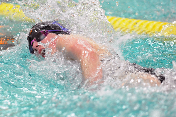 Mountain View High School senior Allison Miller swims in the consolation final heat of the 50-yard freestyle during the Northern Conference Championships on Saturday, Feb. 4, 2012 at the Mountian View Aquatic Center.