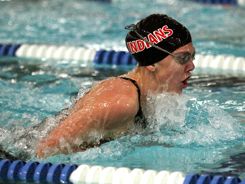 Loveland freshman Brooke Hansen cruises through the 100-yard breaststroke final Saturday during the 5A State Championship Meet at EPIC in Fort Collins.