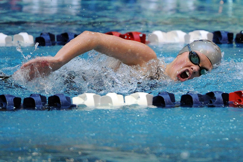Mountain View High School senior Casey Richards swims in the consolation finals of the 500-yard freestyle during the Class 4A State Championships on Saturday, Feb. 11, 2012 at Veterans Memorial Aquatics Center in Thornton.
