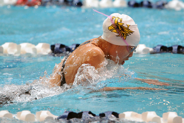 Thompson Valley High School Mattea Wabeke swims the breaststroke portion of the 200-yard medley relay during the finals of the Class 4A State Championships on Saturday, Feb. 11, 2012 at Veterans Memorial Aquatics Center in Thornton.