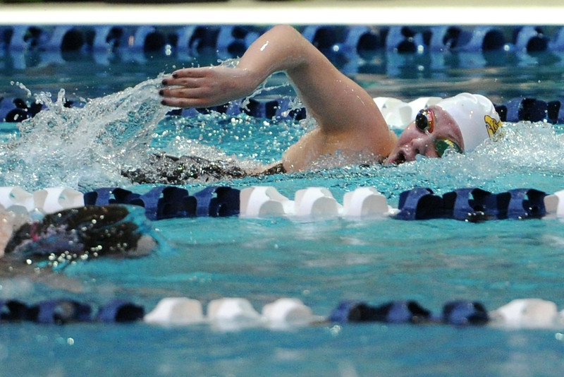 Thompson Valley High School junior Cate Neitenbach competes in the consolation finals of the 500-yard freestyle during the Class 4A State Championships on Saturday, Feb. 11, 2012 at Veterans Memorial Aquatics Center in Thornton.