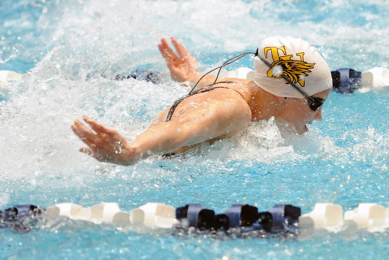 Thompson Valley High School sophomore Marina Fonseca swims the butterfly portion of the 200-yard medley relay during the finals of the Class 4A State Championships on Saturday, Feb. 11, 2012 at Veterans Memorial Aquatics Center in Thornton.