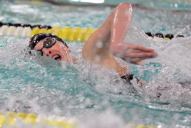 Thompson Valley High School freshman Eryn Eddy swims in the finals heat of the 100-yard freestyle during the Northern Conference Championships on Saturday, Feb. 4, 2012 at the Hewson Aquatic Center.