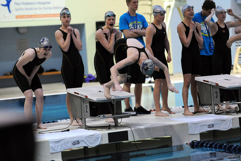 Mountain View High School's 400-yard freestyle team at the start of the consolation finals of the Class 4A State Championships on Saturday, Feb. 11, 2012 at Veterans Memorial Aquatics Center in Thornton.
