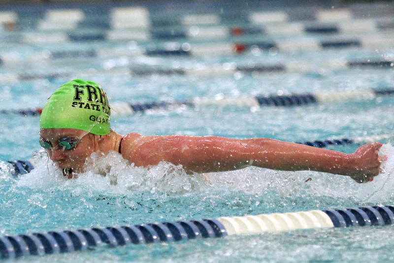 Sophomore Sammie Guay competes in the 100-yard butterfly consolation heat Saturday at EPIC in Fort Collins. Guay's team, the Fossil Ridge SaberCats won the state team title, beating Cherry Creek by a single point, 244-243.