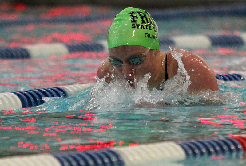 Fossil Ridge sophomore Sammie Guay competes Saturday in the 200-yard Individual Medley during the 5A State Championship Meet at EPIC in Fort Collins.