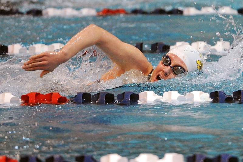 Thompson Valley High School senior Nicole Hlavacek swims in a preliminary heat of the 500-yard freestyle during the Class 4A State Swimming Championships on Friday, Feb. 10, 2012 at Veterans Memorial Aquatics Center in Thornton.