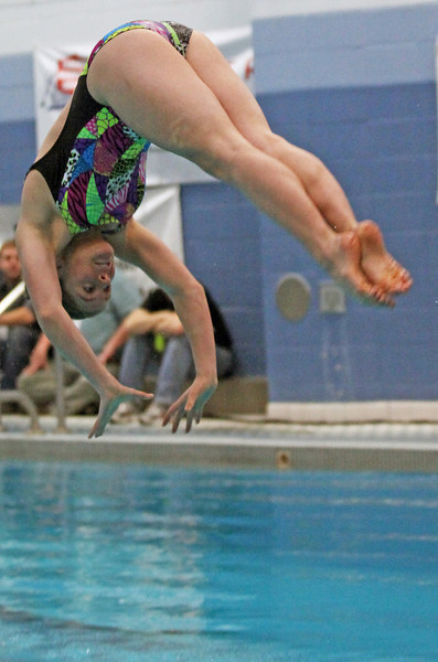 Loveland junior diver Michal Bower looks for the surface during her second dive Saturday during the finals of the 5A State Championship Meet at EPIC in Fort Collins.
