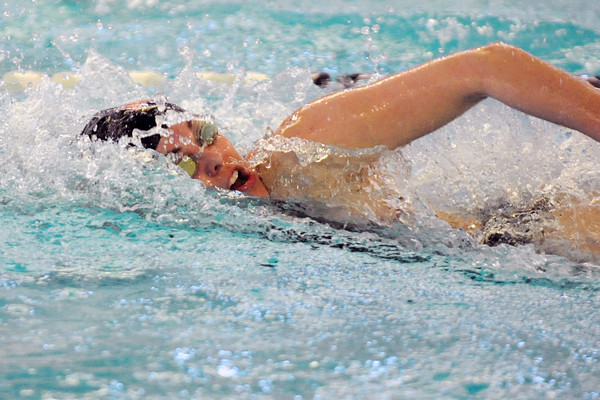 Loveland High School senior Hannah Svedlow swims in the final heat of the 100-yard freestyle during the Front Range Class 5A Championship on Saturday, Feb. 4, 2012 at the Mountain View Aquatic Center.