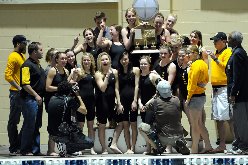 Thompson Valley High School swim and dive team members pose together after winning the team title of the Class 4A State Championships on Saturday, Feb. 11, 2012 at Veterans Memorial Aquatics Center in Thornton.