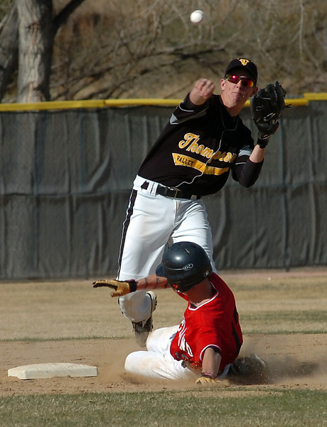 Thompson Valley's #4 throws the ball back to first base after tagging out Loveland's #17.