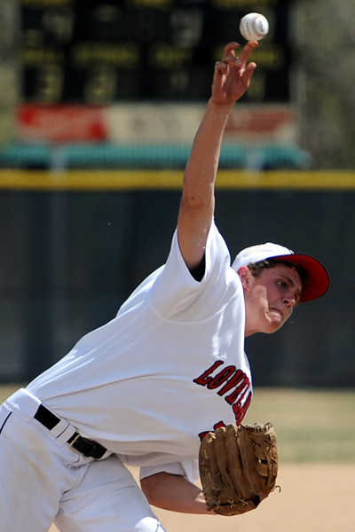 Loveland High School sophomore Ryan McCloughan throws a pitch in the top of the fourth inning of a game against Fairview on Saturday, April 14, 2012 at Swift Field.