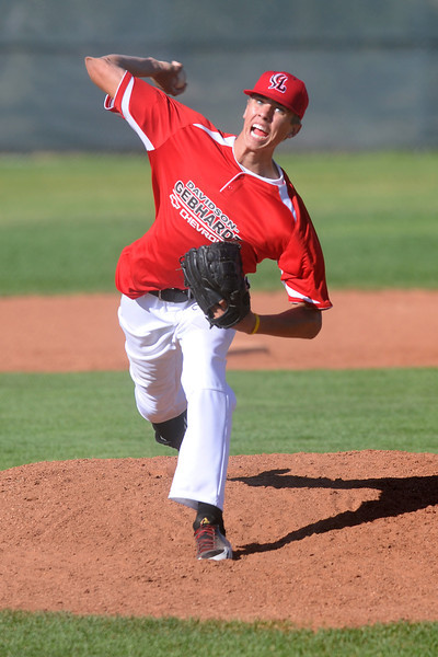 Davidson Chevrolet's Alec Hansen throws a pitch during a game against Johnson's Corner at Brock Field on Tuesday, July 17, 2012.