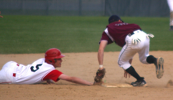 Jered Ratschkowsky gets back to second base Monday during Loveland High School's victory over Horizon.