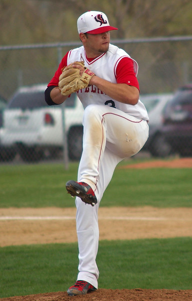Trent Lussenhop readies to pitch Monday in Loveland High School's victory over Horizon. (Jeff Stahla)