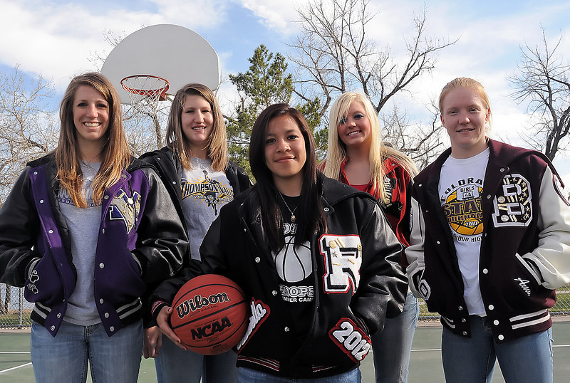 The 2010 all-area girls basketball team starting five include player of the year, sophomore Gabby Ramirez of Roosevelt, front, and back from left are Mountain View junior Erin Stumbaugh, Thompson Valley junior Jordan Sibrel, Loveland senior Shelby Jones and Berthoud senior Amy Ekart.