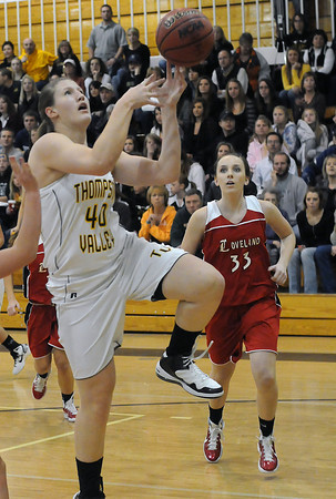 Thompson Valley High School senior Jordan Sibrel goes up for a shot during a game against Loveland on Friday, Dec. 17, 2010 at TVHS.