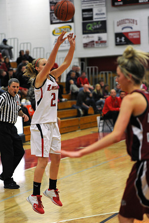 Loveland High School sophomore Annika Anderson (2) shoots a jump shot in the first quarter of a game against Chatfield on Wednesday, Feb. 22, 2012 at LHS.