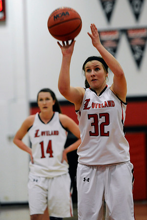Loveland High School junior Colissa Bakovich shoots a free throw during a game against Rocky Mountain on Thursday, Feb. 9, 2012 at LHS.