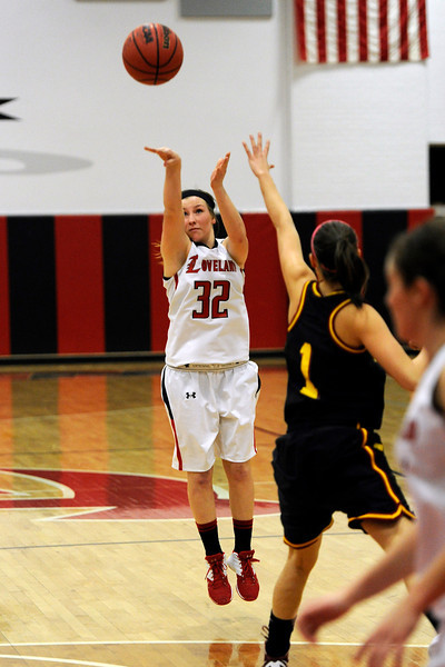 Loveland High School junior Colissa Bakovich shoots a jump shot during a game against Rocky Mountain on Thursday, Feb. 9, 2012 at LHS.