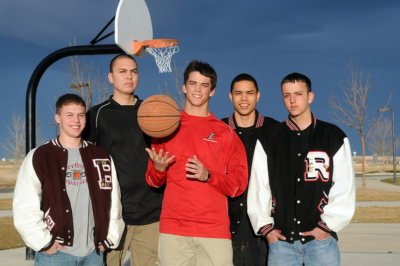 The 2010-11 Reporter-Herald  All-Area boys basketball first team, from left to right, Berthoud High School's Zac Ruebesam, Loveland's Jim Etling and player of the year Cam Michael and Roosevelt's Mike Mitchell and Sam Hardy.