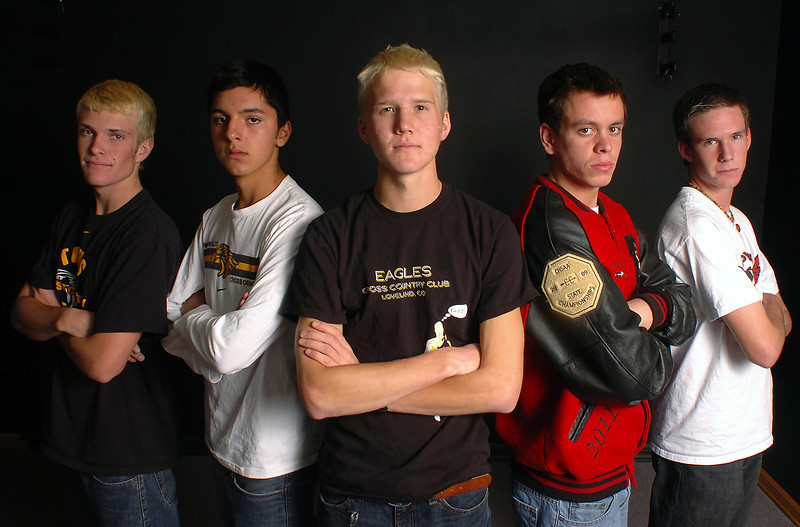 All area cross country boys from left are Ben Williamson, Daniel Lara, Gus Waneka, Tanner Roberts and Ben Bragaw.