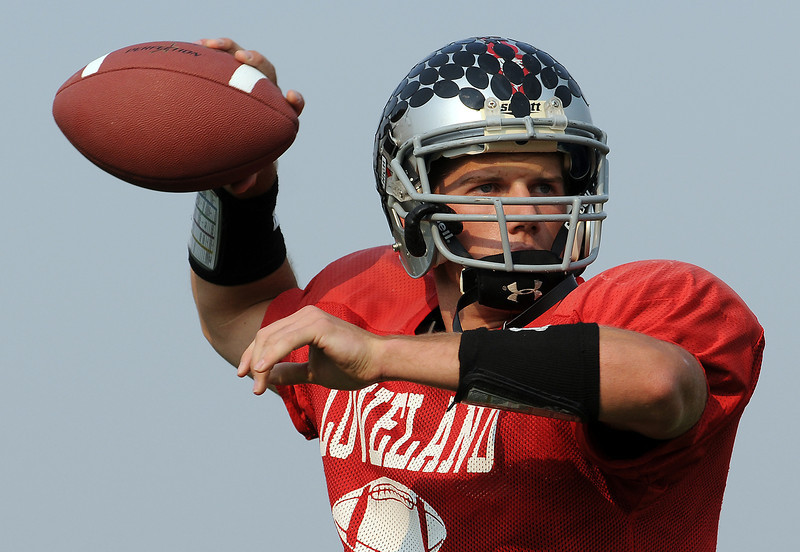 Kyle Klein prepares to launch a ball on Tuesday during practice at Loveland High School.