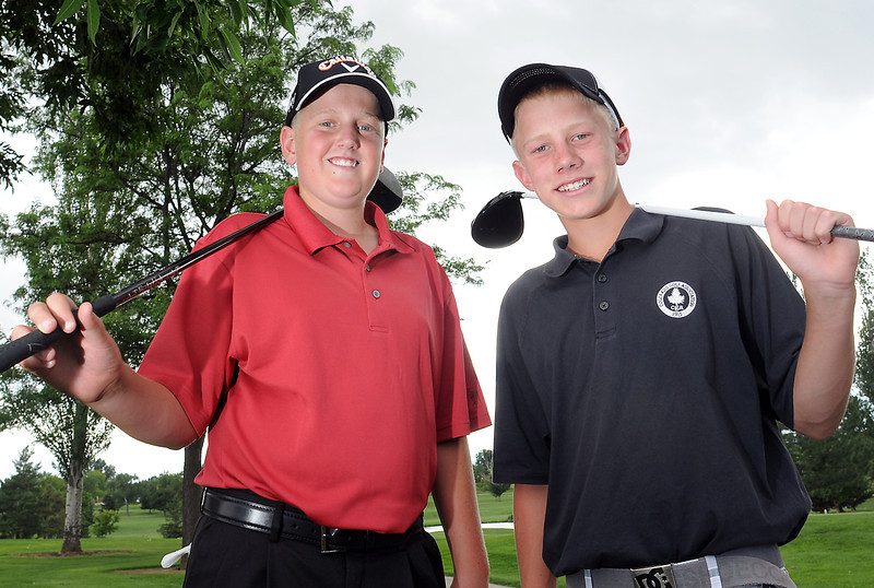 Loveland High School incoming freshmen golfers Riley Sarbacker, 14, left, and Cole Bundy, 14, pose Wednesday at the Olde Course at Loveland.