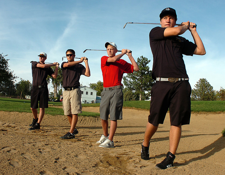 Reporter Herald all area golfers pose for a photo at the Olde Course in Loveland on Wednesday. From left they are MVHS David Perry, MVHS Chandler Conley, LHS Cole Bundy and TVHS Josh McLaughlin.