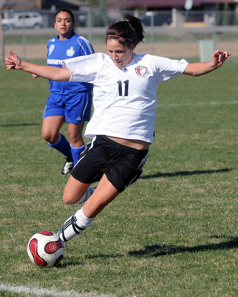 Loveland High School's Suzanne Case during a game against Thornton on Wednesday, April 14, 2010 at the Mountain View soccer field.