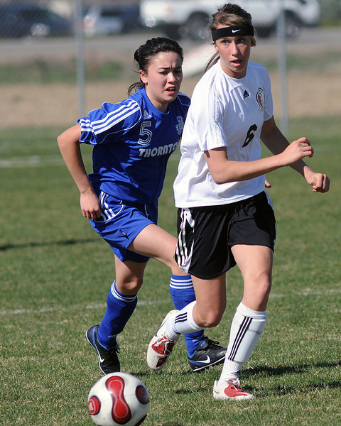Loveland High School's Faith Winter during a game against Thornton on Wednesday, April 14, 2010 at the Mountain View soccer field.