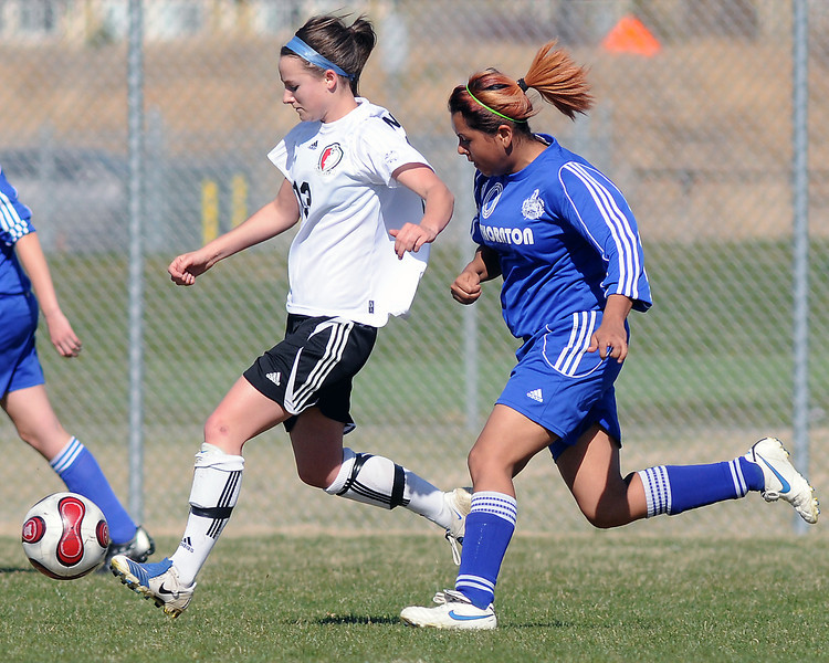Loveland High School's Ally Frickman (13) during a game against Thornton on Wednesday, April 14, 2010 at the Mountain View soccer field.