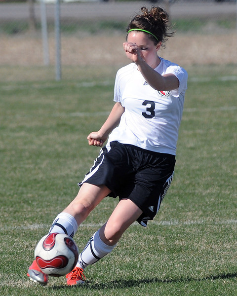 Loveland High School's Bree Gardner during a game against Thornton on Wednesday, April 14, 2010 at the Mountain View soccer field.