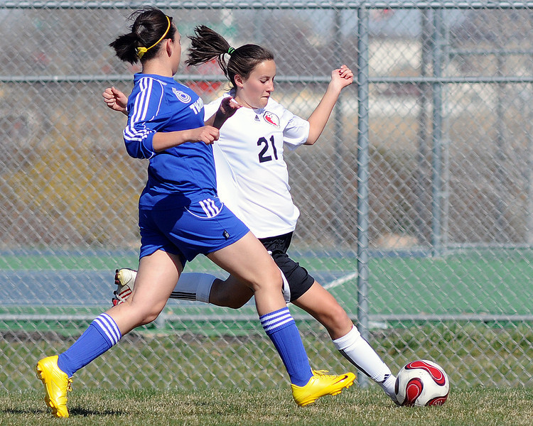 Loveland High School's Katrina Bossenbroek during a game against Thornton on Wednesday, April 14, 2010 at the Mountain View soccer field.