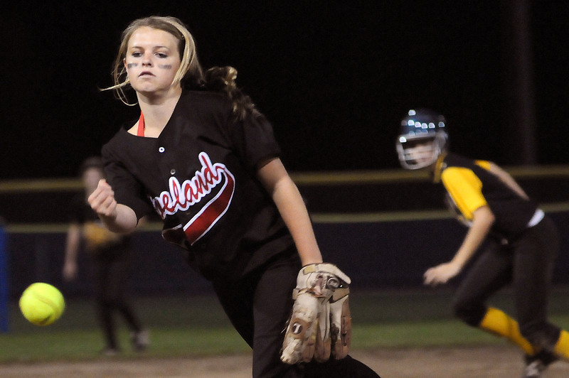 Loveland High School freshman Bradey King pitches against Thompson Valley High School Monday night at Centennial Field.