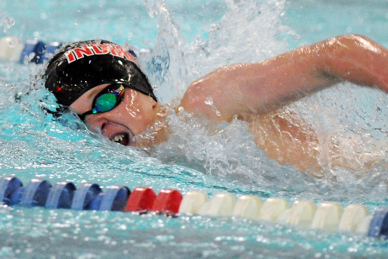 Loveland High School freshman Brennen Lang swims in the 500-yard freestyle final during a Front Range League quadrangular hosted by Rocky Mountain on Tuesday, April 16, 2013 at the Edora Pool Ice Center in Fort Collins.