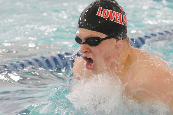 Loveland High School senior Ethan McNally competes in the 100-yard breaststroke final  during a Front Range League quadrangular hosted by Rocky Mountain at the Edora Pool Ice Center in Fort Collins.