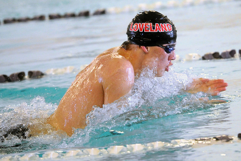 Loveland High School senior Nick Hatanaka swims in the 100-yard breaststroke final during the City Meet on Wednesday, April 24, 2103 at the Mountain View Aquatic Center.