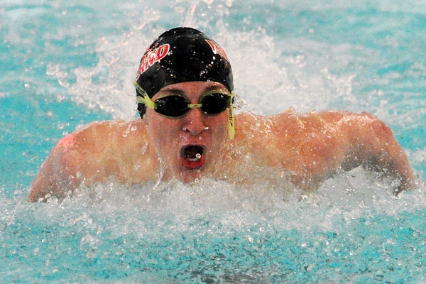 Loveland High School sophomore Colton Mitchell competes in the 100-yard butterfly final during a Front Range League quadrangular hosted by Rocky Mountain at the Edora Pool Ice Center in Fort Collins.