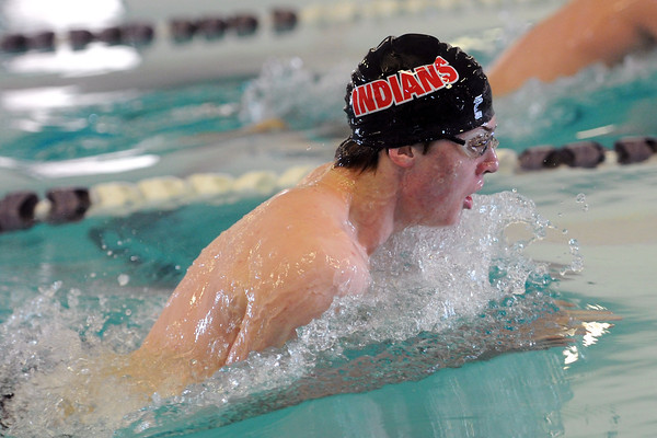 Loveland High School's Erik Trenary swims in the 100-yard breaststroke during a meet Tuesday, March 12, 2013 at the Mountain View Aquatic Center.